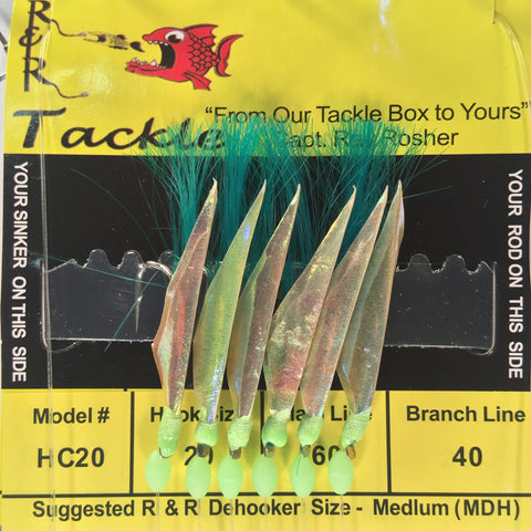 HC20 Sabiki - 6 (size 20) hooks with green nylon & fish skin