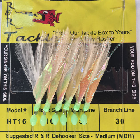 HT16 Sabiki - 6 (size 16) hooks with white feather & fish skin