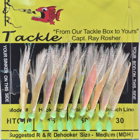 HTC16 Bait Rig - 10 (size 16) hooks with white feather & fish skin