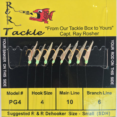 PG4 Sabiki Rigs - 8 (size 4) hooks with fish skin & green heads