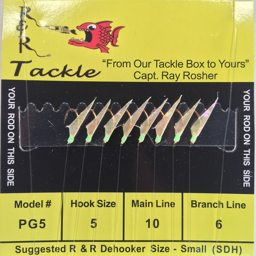 PG5 Sabiki - 8 (size 5) hooks with fish skin & green heads (Stainless Steel hook)