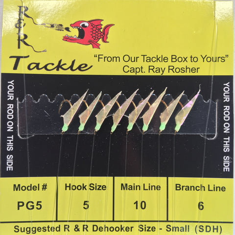 PG5 Bait Rigs - 8 (size 5) hooks with fish skin & green heads (Stainless Steel hook)