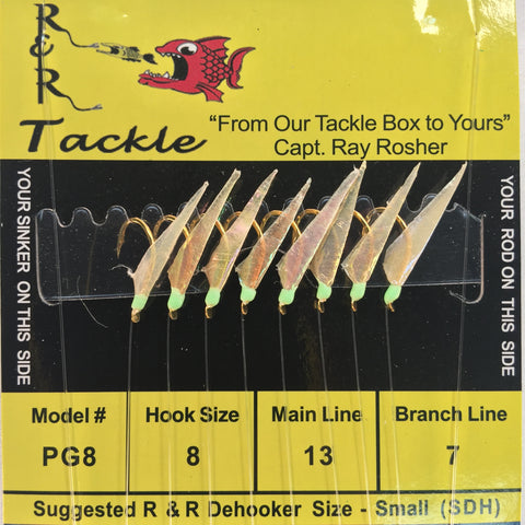 PG8 Bait Rigs - 8 (size 8) hooks with fish skin & green heads
