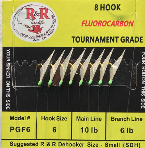 PGF6 Fluorocarbon Bait Rigs- 8 (size 6) gold hooks with fish skin & green heads