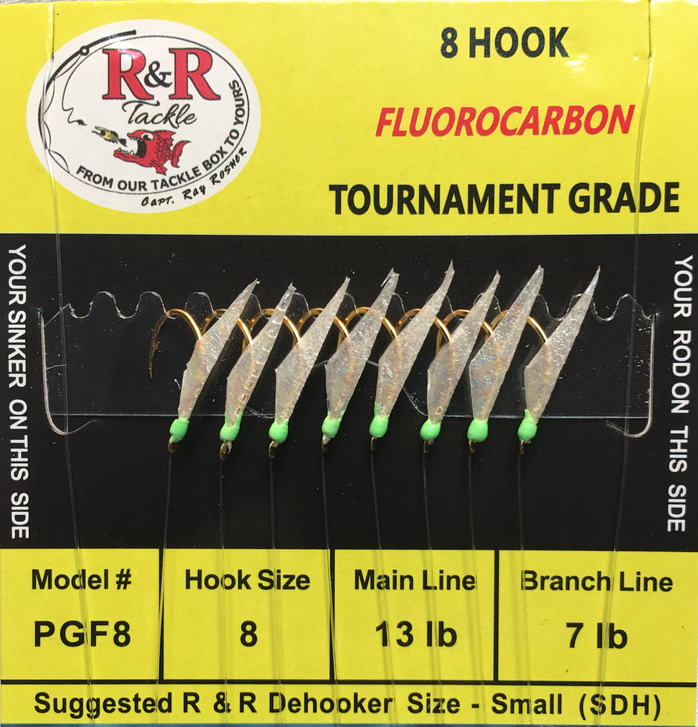 PGF8 Fluorocarbon Sabiki Rigs - 8 (size 8) gold hooks with fish skin & green heads