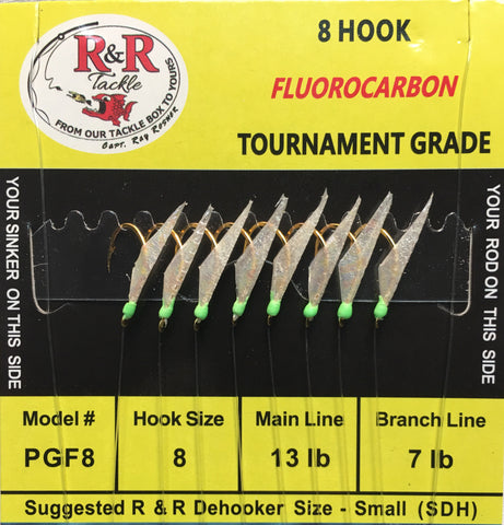 PGF8 Fluorocarbon Bait Rigs - 8 (size 8) gold hooks with fish skin & green heads