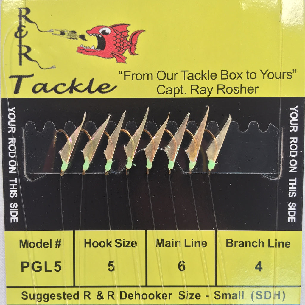 PGL5 Bait Rig - 8 (size 5) hooks with fish skin & green heads (Light Line)