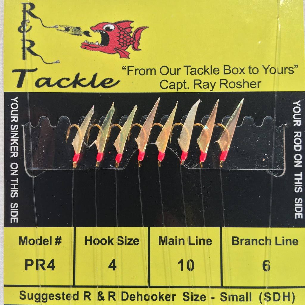 PR4 Bait Rig- 8 (size 4) hooks with fish skin & red heads