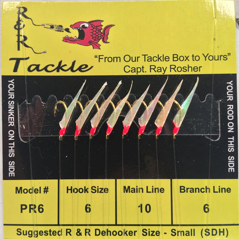 PR6 Bait Rig - 8 (size 6) hooks with fish skin & red heads