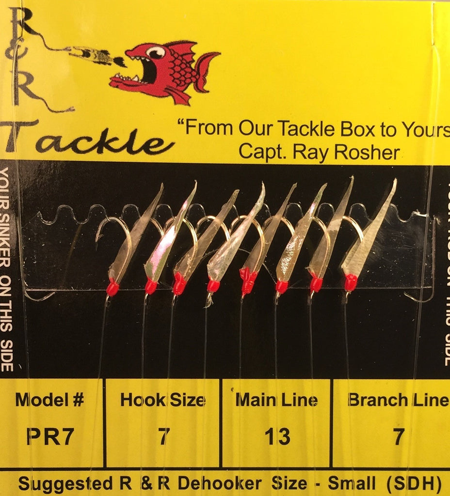 PR7 Sabiki - 8 (size 7) hooks with fish skin & red heads (Stainless Steel Hooks)