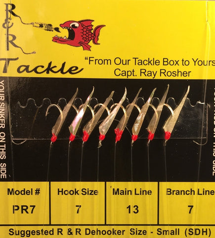 PR7 Bait Rig - 8 (size 7) hooks with fish skin & red heads (Stainless Steel Hooks)