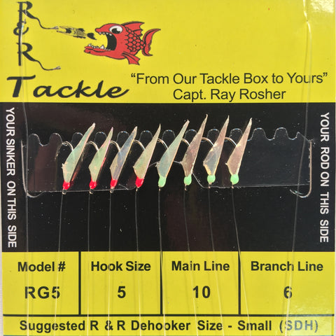 RG5 Bait Rig - 8 (size 5) hooks with fish skin & red/ green heads