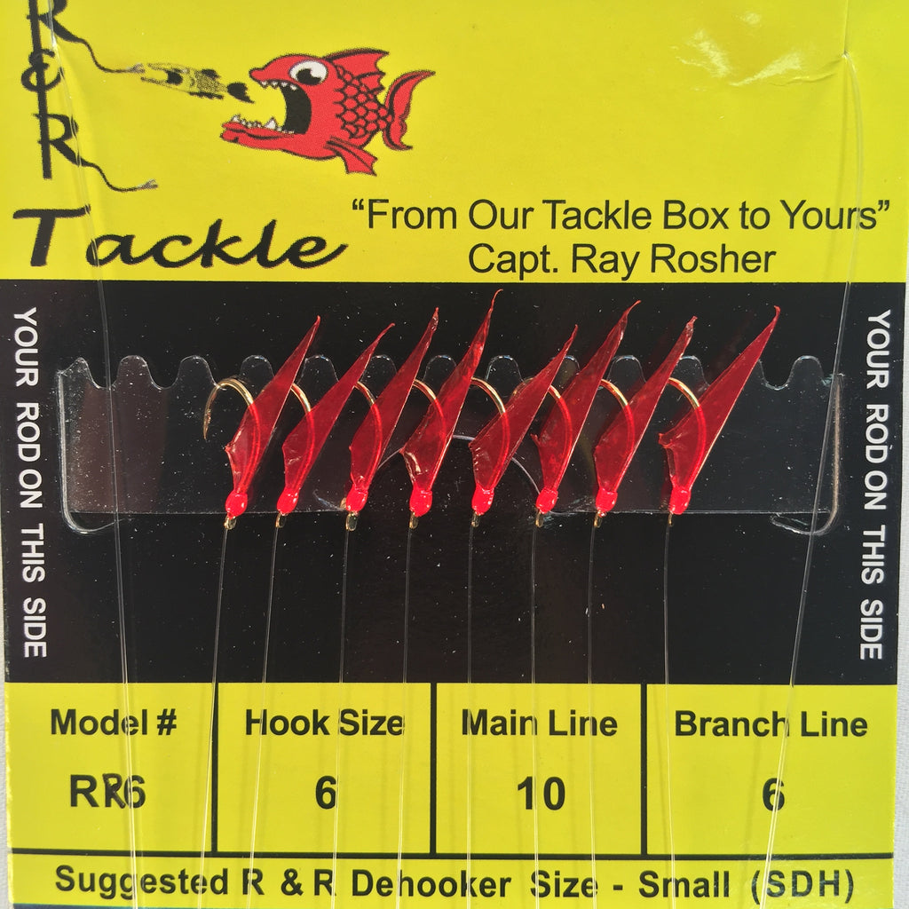 RR6 Sabiki - 8 (size 6) hooks with red skin & red heads