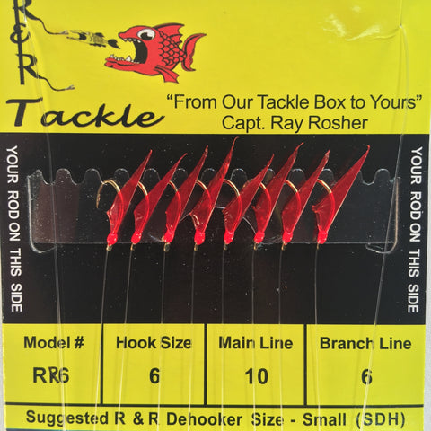 RR6 Bait Rig - 8 (size 6) hooks with red skin & red heads