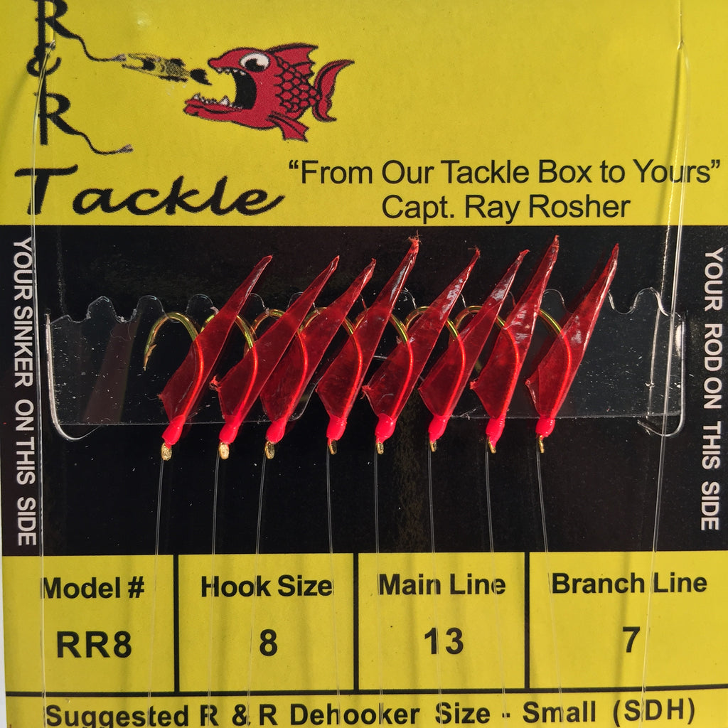 RR8- 8 (size 8) hooks with red skin & red heads