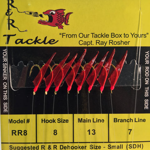RR8 Bait Rig - 8 (size 8) hooks with red skin & red heads