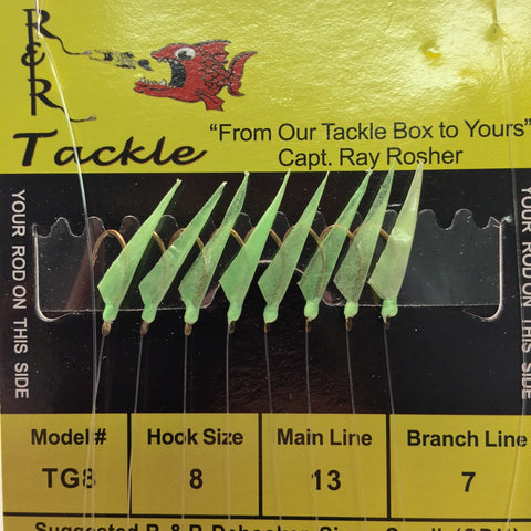 TG8 Bait Rigs - 8 (size 8) hooks with green heads & glow skin (Glows-in-Dark)
