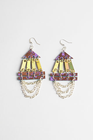 FRINGED DOUBLE PYRAMID EARRINGS