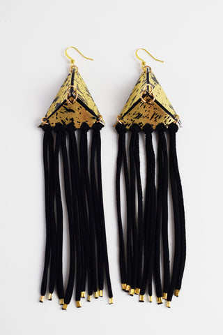 FRINGED SINGLE PYRAMID EARRINGS