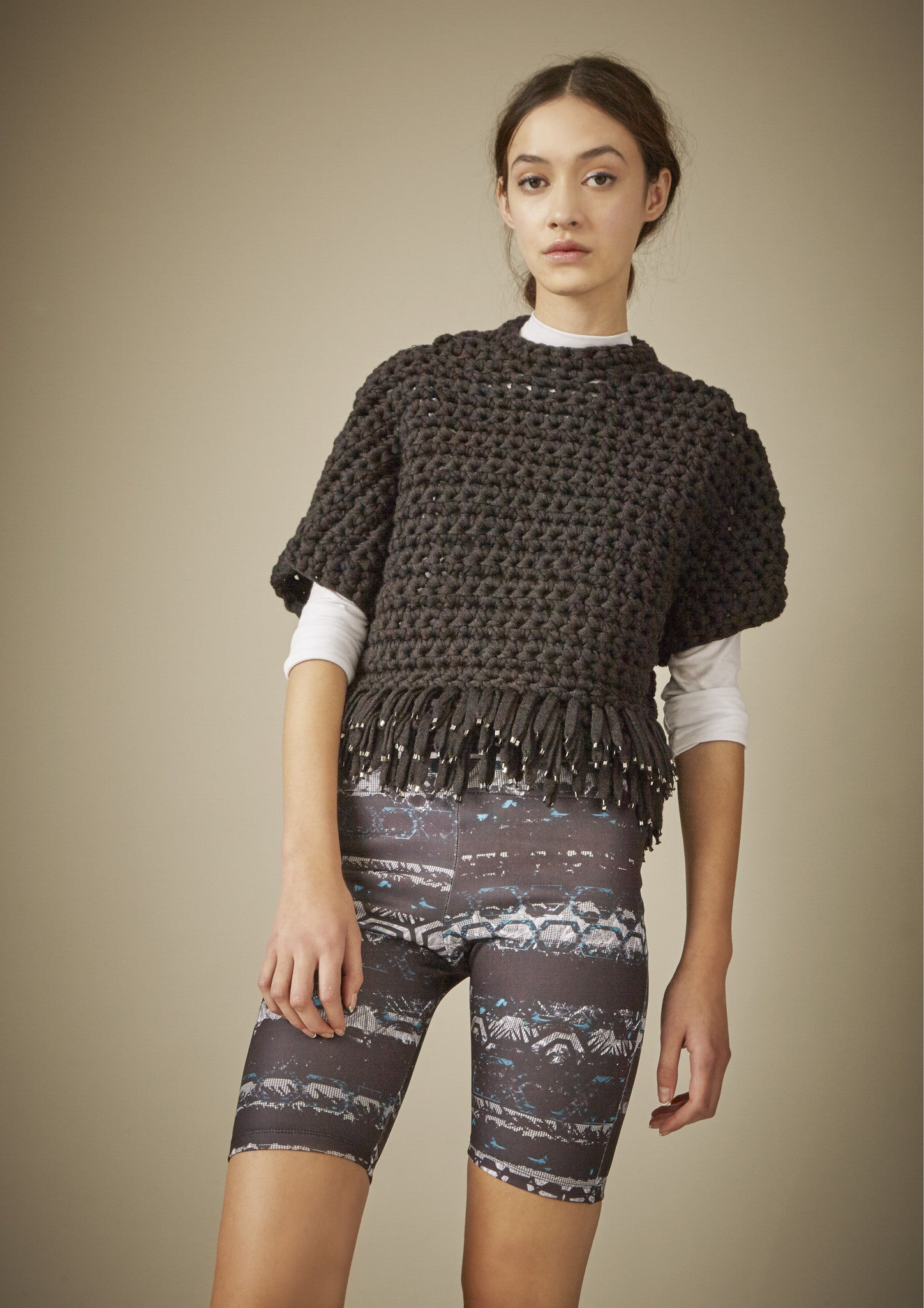 FRINGED CROCHET JUMPER
