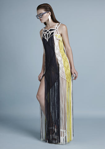 MACRAMÉ FRINGED DRESS