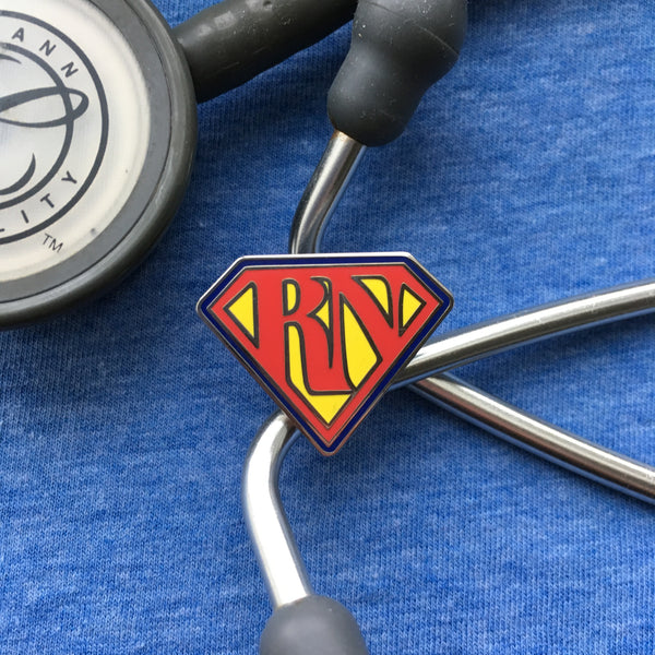 (4 PACK) Nursing Superhero RN Hard Enamel bbllowwn pin