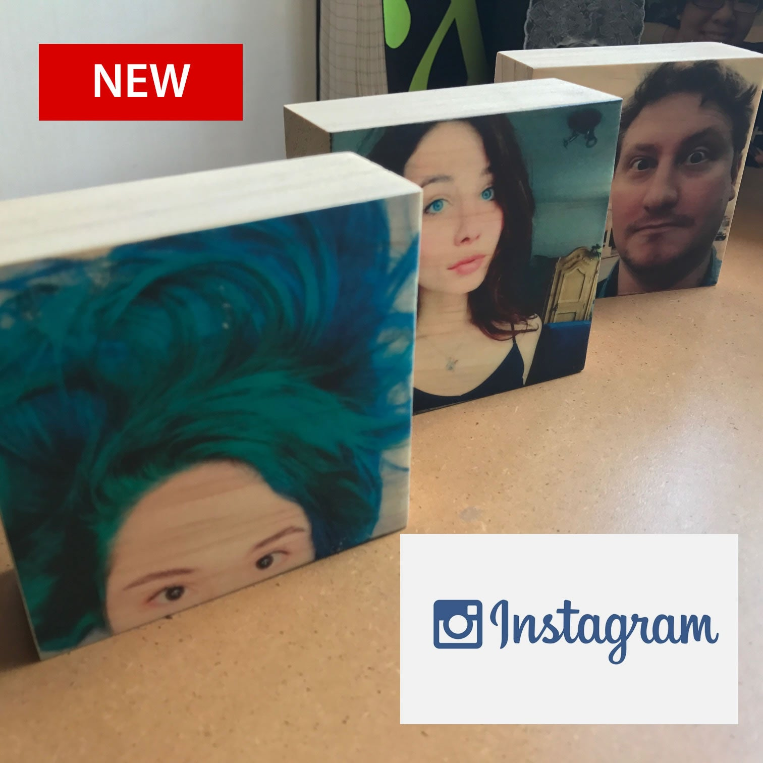 "3.7x3.7"" Instagram Custom Wood Photo Block"