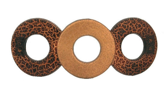 Open Circles Crocodile  Barrette With Gold 1070