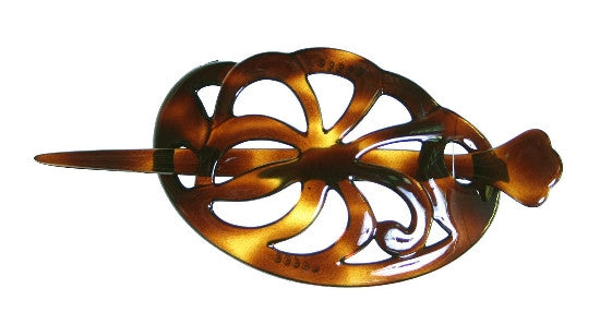 Open Tortoise Shell Pin Through Pony Barrette 1099
