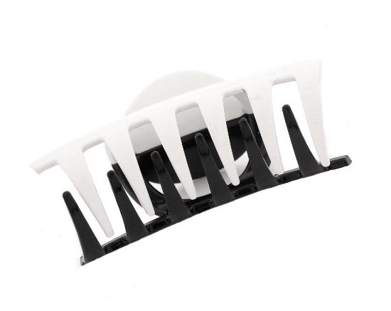 Black & White Combination Large Tube Hair Claw 1135