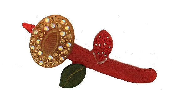 Hand Made Stone With Gold Flower Rubber Barrette 1237