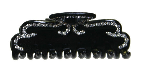Hand Made Black  Hair Claw With Crystal Stones 1253