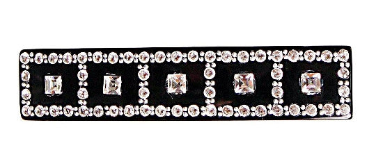 Crystal Stone & 5 Square Stones Black  Automatic Barrette 1259