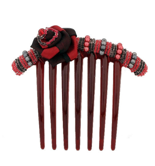 Beaded Rose French Comb w/ Red and Black Swarovski Crystals 1298