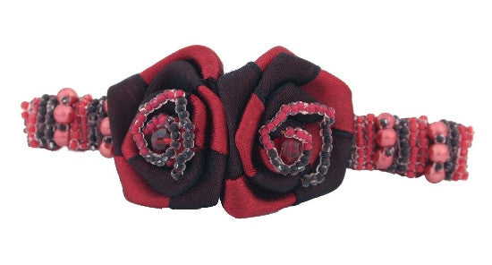 Beaded Rose Automatic French Barrette w/ Swarovski Crystals 1299