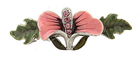 Medium Stone Rose Lead Epoxy Barrette 1497