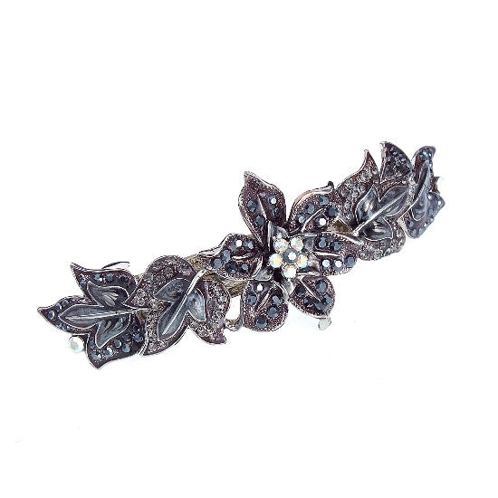 Garden Rose Multi-jeweled Automatic Barrette w/ Swarovski Stones 1535
