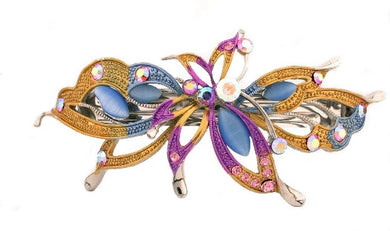 Colorful Butterfly Automatic Barrette w/ Swarovski Crystals 1574