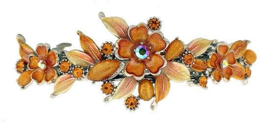 Multi Rose Stone & Epoxy Swarovski Barrette 1484-1578
