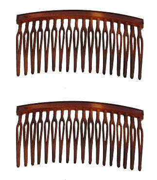 Small Tortoise Shell / Wire Twist Side Hair Combs    12121-213-2