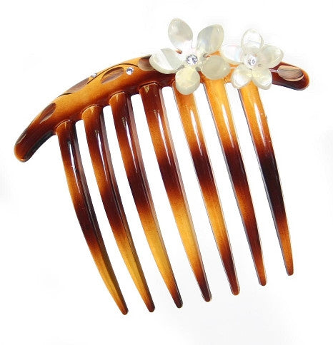 Tortoise Shell French Twist Hair Comb w/ Rhinestone Roses 2177