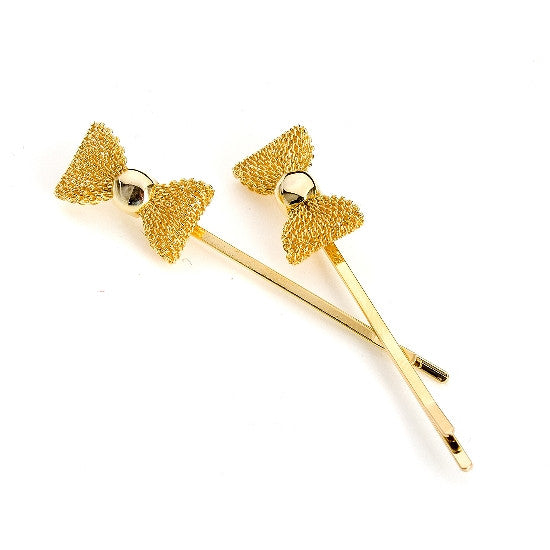 Gold Mesh Bow Bobby Pin (Pair) 2295-2