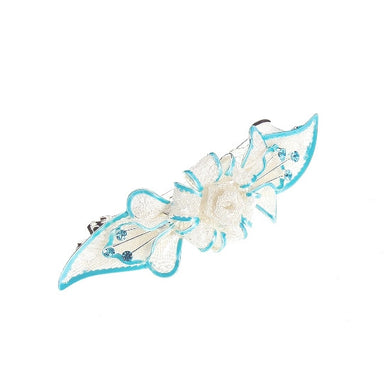 Mesh Bow & Swarovski Crystal Barrette in Silver/Blue 2703