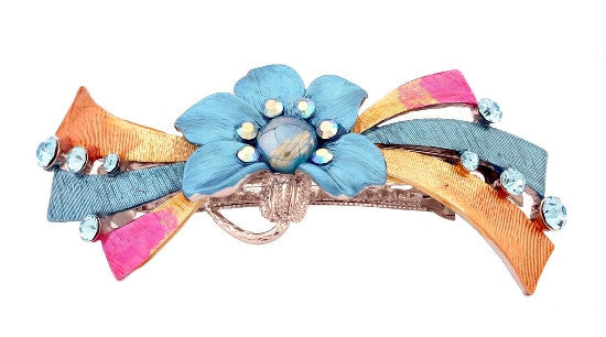 Multi-color Ribbon & Swarovski Crystal Barrette 2835