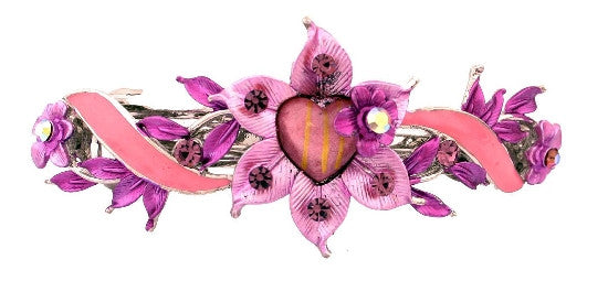 Pink & Purple Flower/Heart Automatic Swarovski Barrette 2841