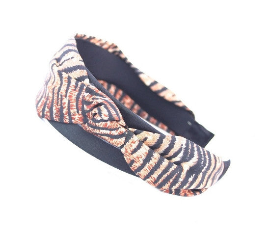 Animal Print Wide Headband with Bow 3031