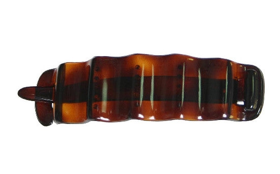 French Non Metal Tortoise Shell Wave Barrette 3202