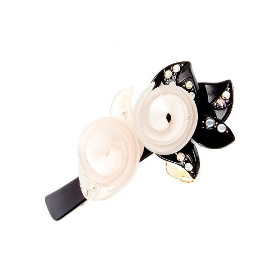 Pearl & Black Roses with Swarovski Crystals on a Tight Barrette 3780