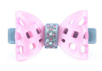 Pink Net Bow Stone With Grey Barrette 4441