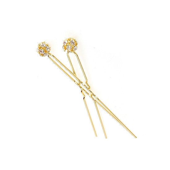 Gold Swarovski Hair Pins (Pair) 5026-2